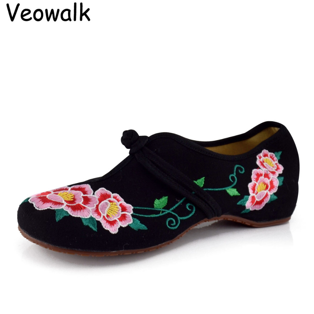Veowalk Plus Size 41 Shoes Woman, Old Beijing Mary Jane Flats Casual Shoes,Chinese Style Flower Embroidered Cloth Canvas Shoes old beijing embroidered women shoes mary jane flat heel cloth chinese style casual loafers plus size shoes woman flower black