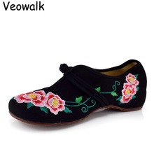 Veowalk Plus La Taille 41 Chaussures Femme, vieux Pékin Mary Jane Appartements Casual Chaussures, Style Chinois Fleur Brodée Tissu Toile Chaussures
