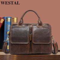 WESTAL Men's briefcase genuine leather messenger bag men's shoulder bag satchel laptop business leather bags for documents 8002