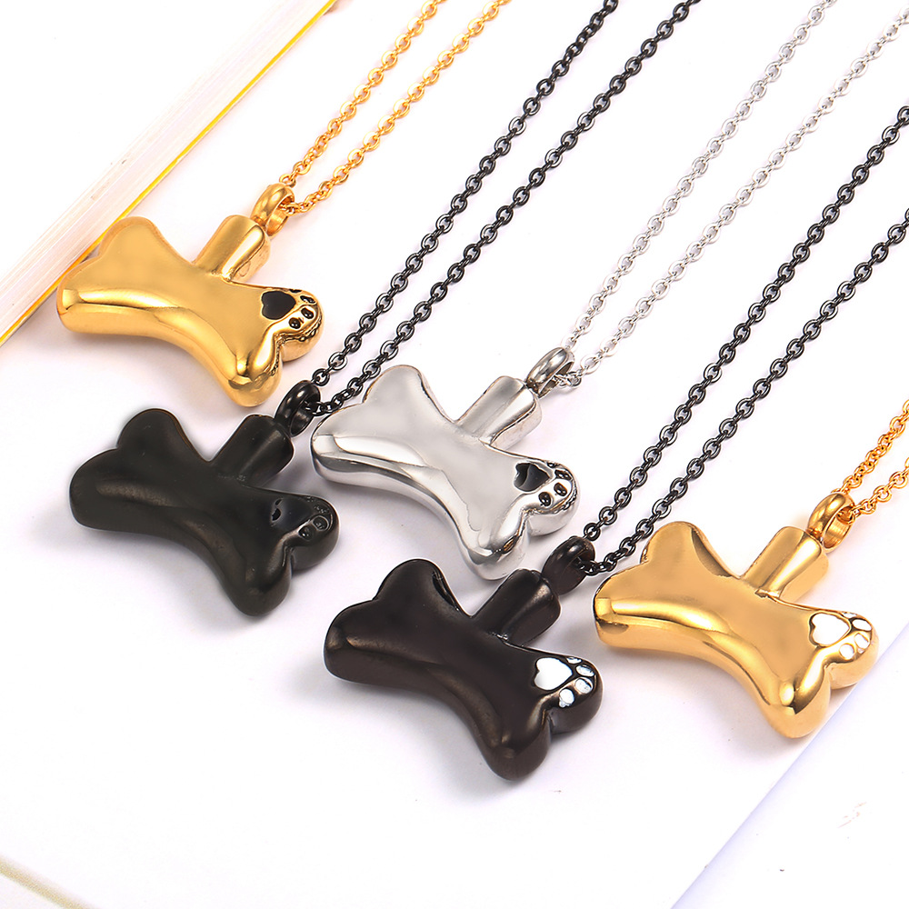 Dog Bone Cremation Jewelry for Ashes Pets Keepsake Urns Memorial Holder Ashes Pendant Necklace