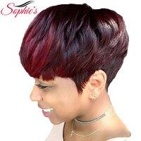 Sophie's Brazilian Bob Wig Short Human Hair Wigs For Black Women Remy Straight Hair Wig 1b Purple 99j Blue Ombre Human Hair Wig