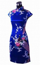 Hot New Blue Chinese Female Silk Qipao Top Novelty Button Cheongsam Short-Sleeve Printed Dress Floral Size S M L XL XXL  L020-F