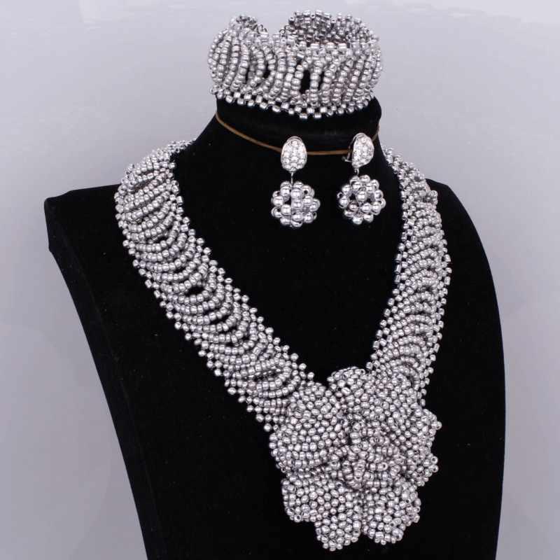 Комплект ювелирных изделий в африканском стиле, 3 слоя, Свадебный комплект ювелирных изделий для невесты с серебряными кристаллами, комплект ювелирных изделий «Дубай» для женщин, бесплатная доставка, ожерелье 2018