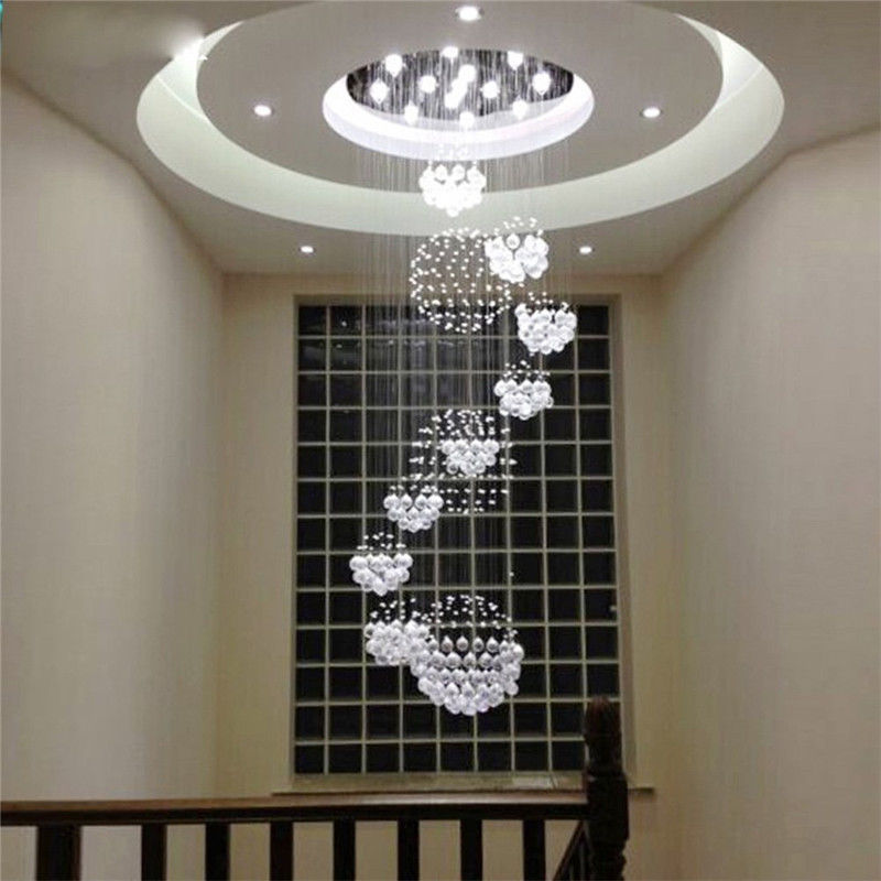 Crystal Rain Drop with LED Chandeliers 11 Crystal Light Sphere Fixture Staircase LED Crystal lamps Fixture Hotel Lighting B127