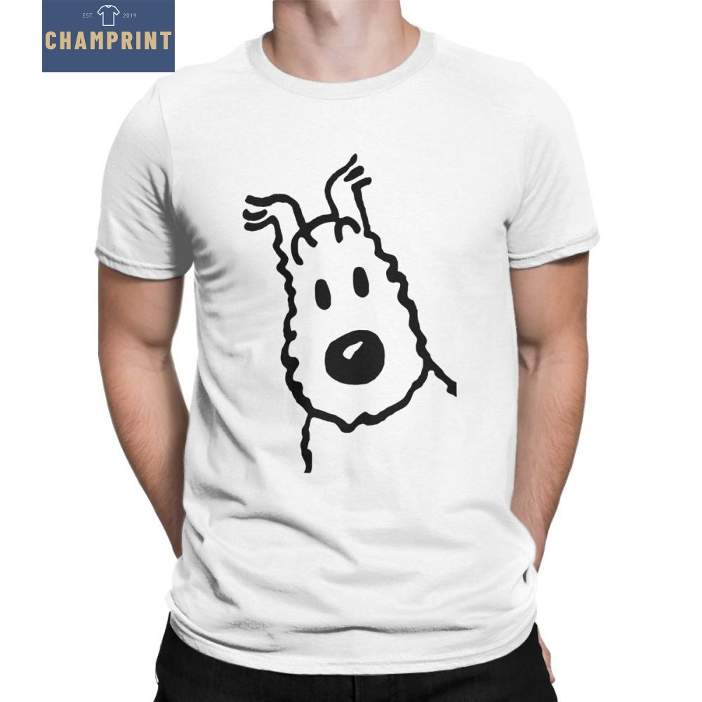 Men's T-Shirts Snowy Tintin Merchandise Funny 100% Cotton Tee Short Sleeve The Adventures Of Tintin T Shirt Clothing Plus Size