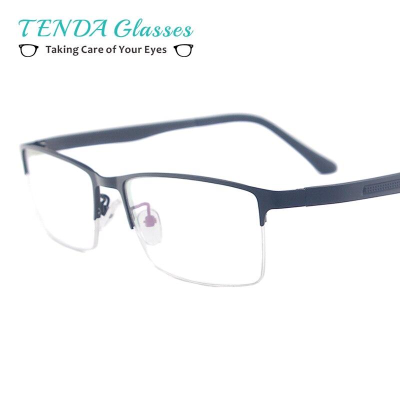 Homens da forma Retangular Óculos Metade Aro de Metal Armação de óculos De  Prescrição de Lentes e257ac0390