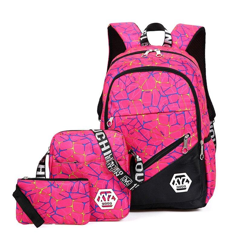 Girls Schoolbags Kid Backpacks  Fashion School Backpack For Teenagers 3 Pcs/sets High Quality Canvas School Bag Mochila Escolar