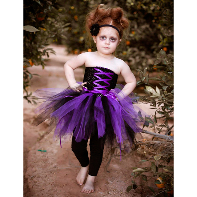 Mädchen Halloween Ballettröckchen kleid Mit Polyester Crochet Top ...