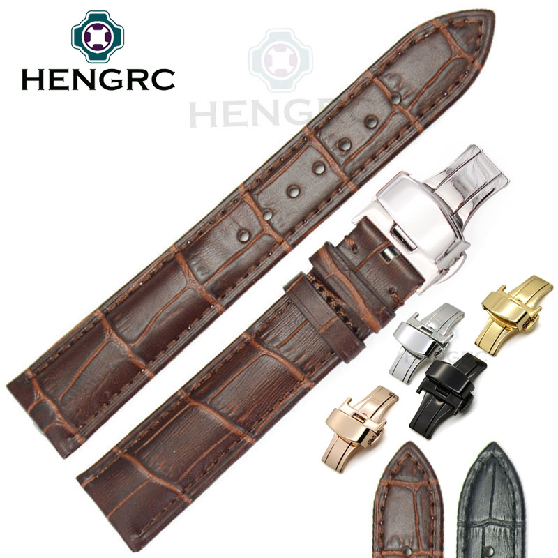 18 19 20 21 22mm 24mm Watchbands Belt Men Women Black Brown High Quality Genuine Leather Watch Band Strap Deployment Clasp high quality genuine leather watchband 22mm brown black wrist watch band strap wristwatches stitched belt folding clasp men