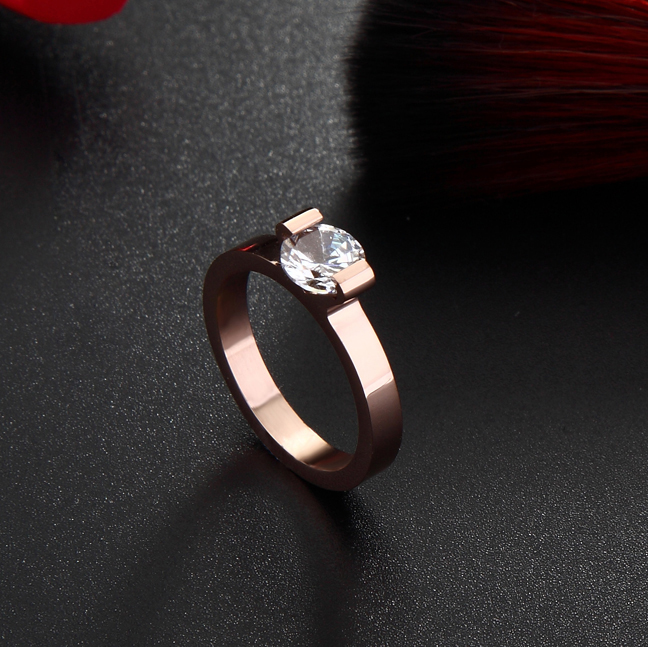Valentine Rose Gold color Titanium Steel AAA Grade 6 mm Cubic Zircon Women Wedding Rings/Classic & Cheap Love Ring Size 4-10