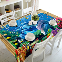 3D Tablecloth Underwater World Dolphins Turtles Christmas Washable Cloth Thicken Rectangular and Round Wedding Table