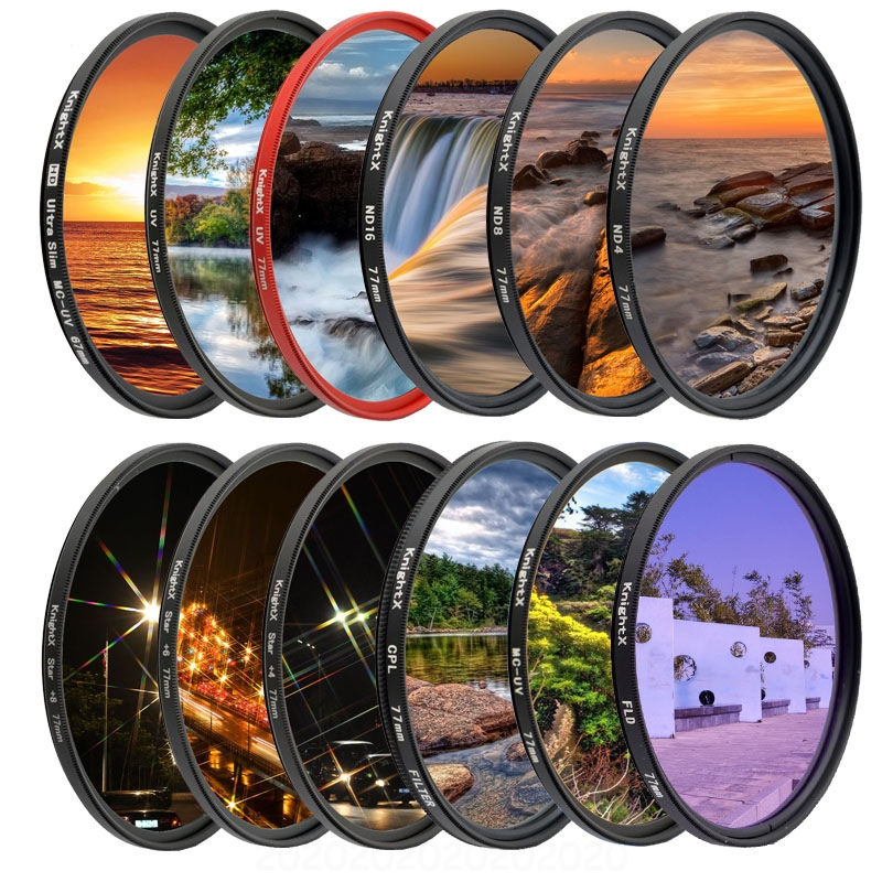 KnightX FLD UV CPL ND2 ND4 ND8 Star Gnd Camera Lens Filter For Canon Sony Nikon 49mm 52mm 55mm 58mm 67mm 72mm 77mm Photography