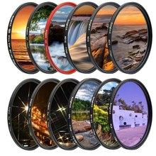 Filtro de lente de câmera knightx fld, filtro uv cpl nd2 nd4 nd8, star gnd, para canon sony nikon 49mm 52mm fotografia de 55mm 58mm 67mm 72mm 77mm