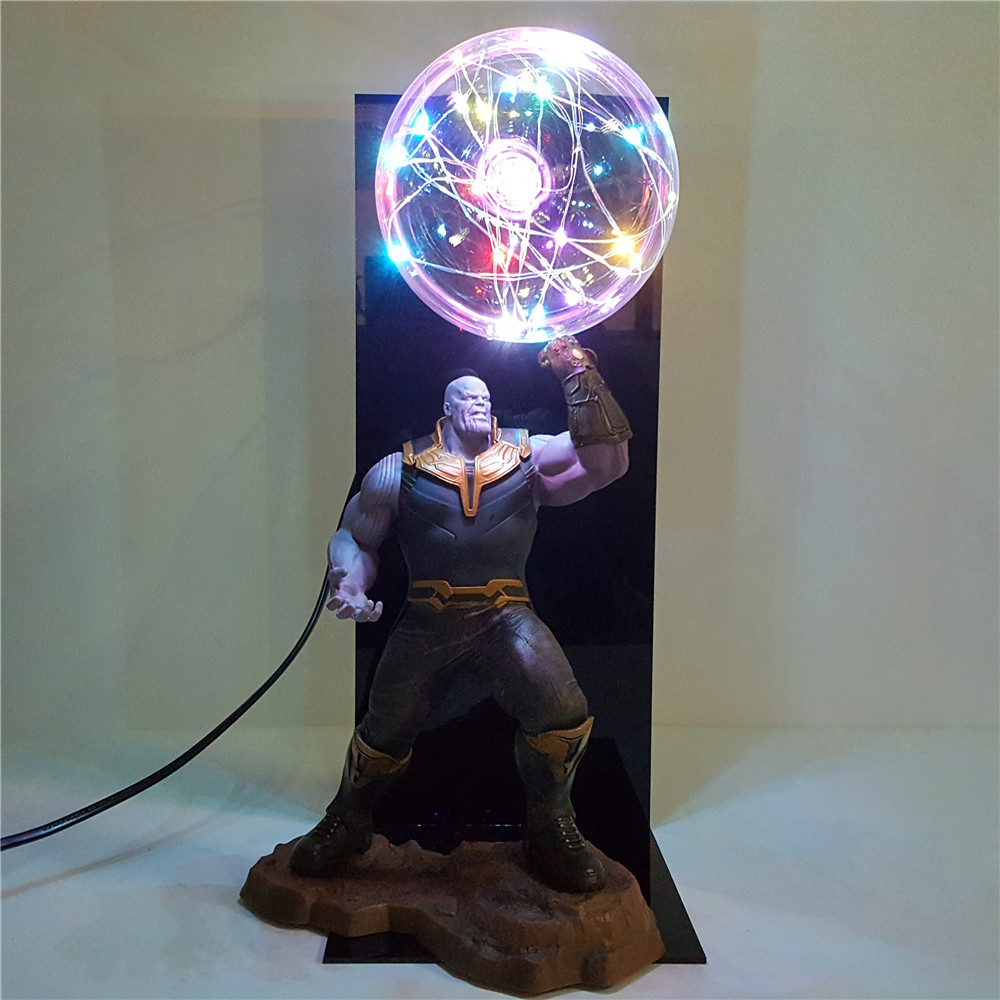 Lampara Avengers Endgame Thanos Infinity Gauntlet Led Night Light Flash Display Set Movie Avengers Thanos Figure DIY Lamp Toys