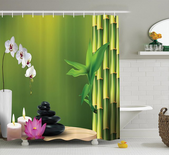 Spa Decor Shower Curtain Bamboo Flower Stone Wax On The Table Orchid Rock Healthy Lifestyle Image Pattern