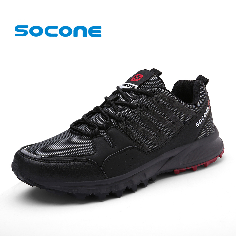 Socone New Arrival Men Trail Running Sneakers Outdoor Athletic Sport Shoes Walking zapatillas hombre Men Lace-up Jogging Shoes