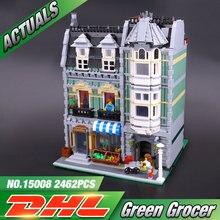 Lepin 15008 2462 Sztuk Ulicy Miasta Zielony Grocer Modelu Budynku Zestawy Bloki zabawki Edukacyjne Klocki Kompatybilne 10185