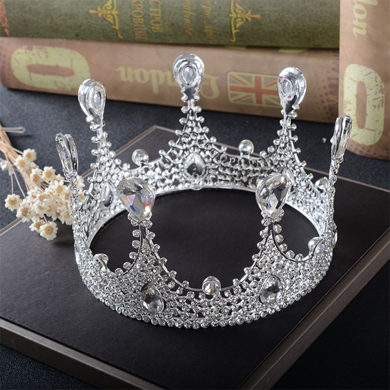 Snuoy Rhinestone Full Found Circle Crown Tiara Pageant Prom Queen Halo European Birthday Crown Bridal Wedding Hair Accessories