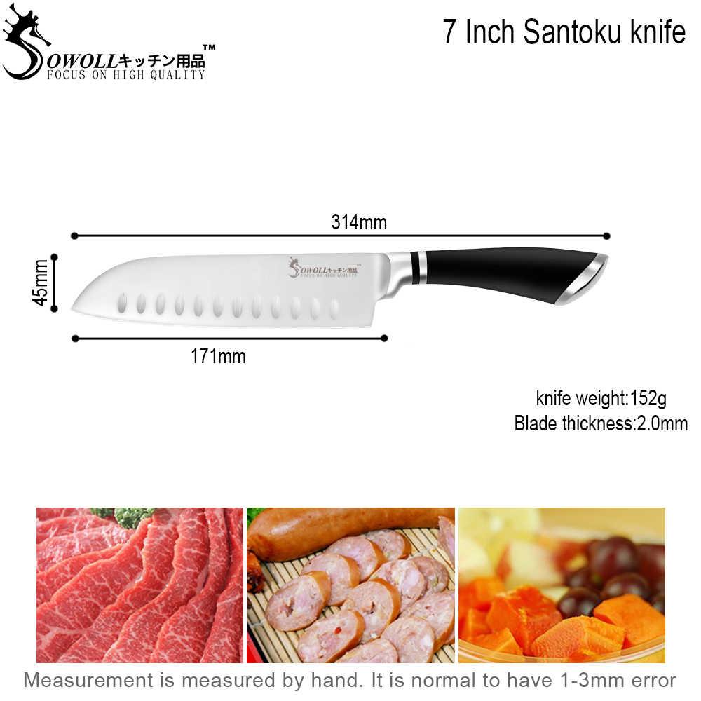 SOWOLL gotowanie kuchnia nóż narzędzia Handmade nóż ze stali nierdzewnej 7 cal japoński gotowanie nóż Santoku łosoś Sushi nóż prezent