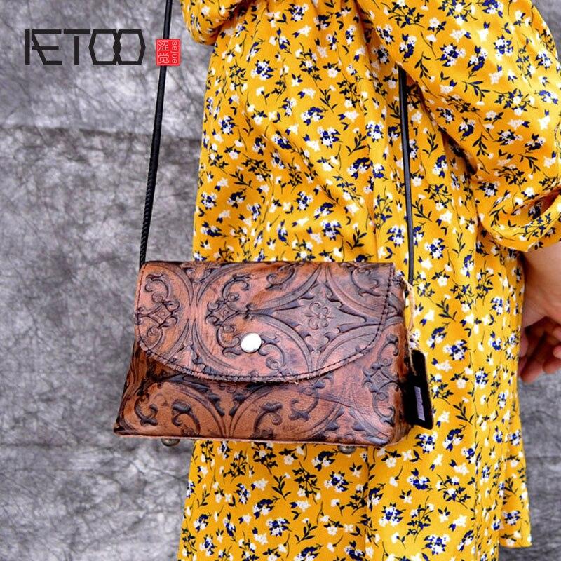 AETOO Bolsa Messenger-Bag Crossbody-Bag Chinese-National-Style Retro Genuine-Leather Сумка
