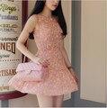 O Envio gratuito de Vestidos de Verão Para As Mulheres 2014 New Arrival Moda Coreano Impressão Azul Sem Mangas Backless Praia Vestido Curto N75498