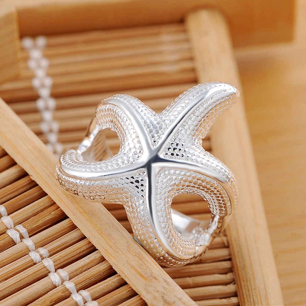 Красивая Большая Морская звезда Посеребренная кольцо бижутерия амулет Свадебные Женщины, хороший модный милый подарок Бесплатная доставка R538