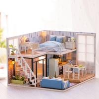 Christmas Handmade Houses Wooden DIY Modern l House Double Storey Loft Building House Package Furniture Miniature Model Toys