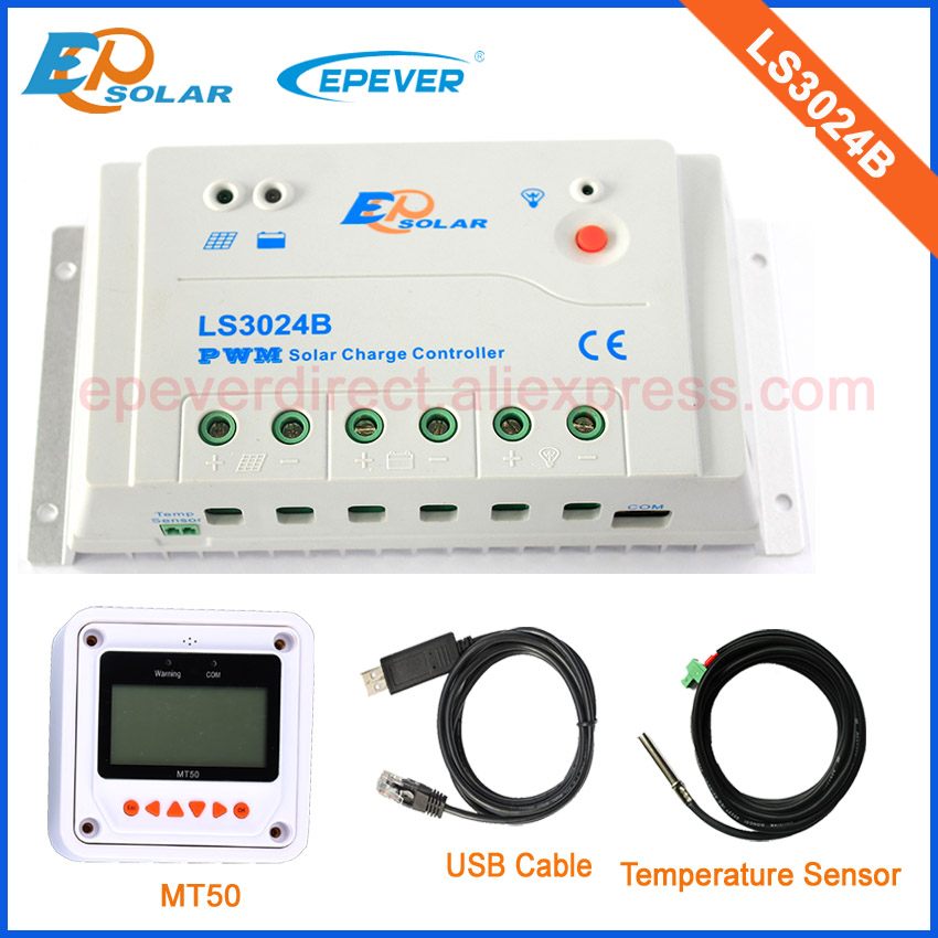 EPsolar PWM 30A solar battery charger with USB cable and temperature sensor MT50 remote meter LS3024B with white color mt50 remote meter epsolar pwm solar battery charger controller bluetooth function usb cable ls2024b 20a