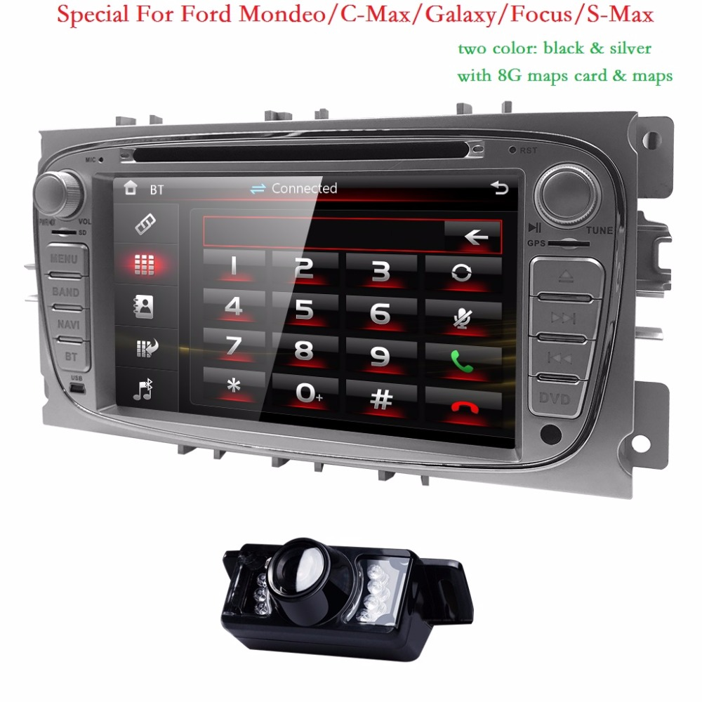 Double 2 Din Car DVD Player GPS Navi for Ford Focus Mondeo Galaxy 3G Audio Radio Stereo Head Unit BT iPod RDS Can-Bus 8G map CAM