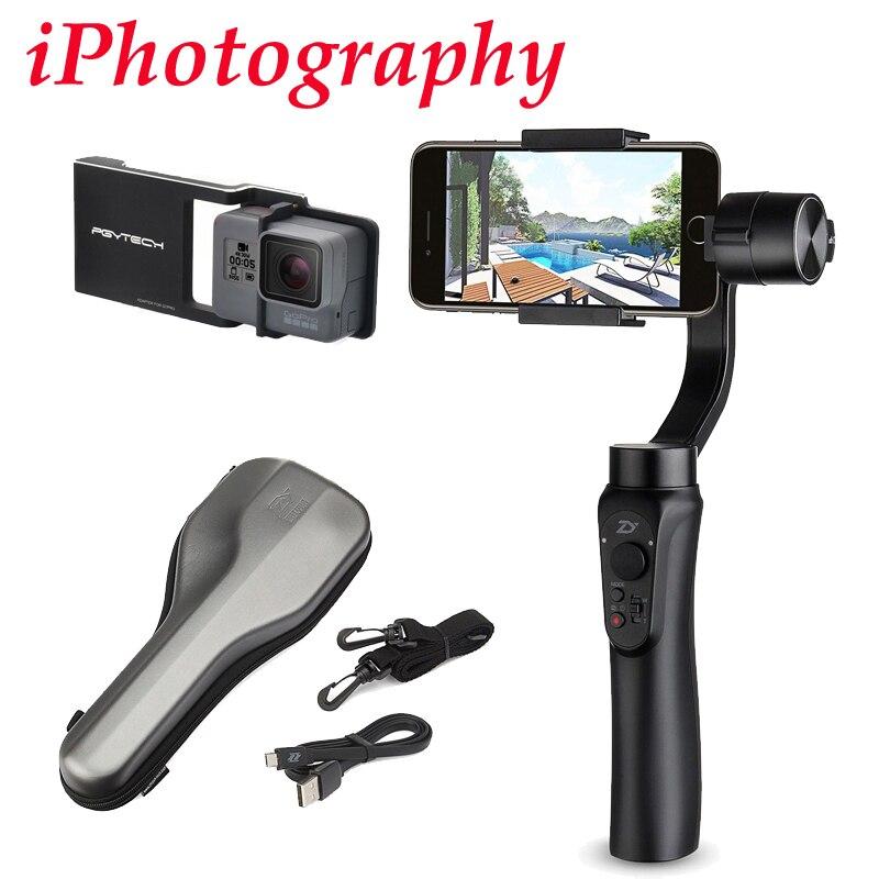 Zhiyun Glatt Q 3-achsen Handheld Gimbal Stabilizer für iPhone 7 6 + platte anzug für Gopro Hero 5 4 3, und verkauf Zhiyun Glatte 4