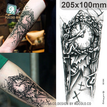 QC604 20X10cm Long Tatuajes Temporales Tattoo Sleeves Body Art Vintage Old Clock Temporary Fake Flash Tatoo Sticker Taty
