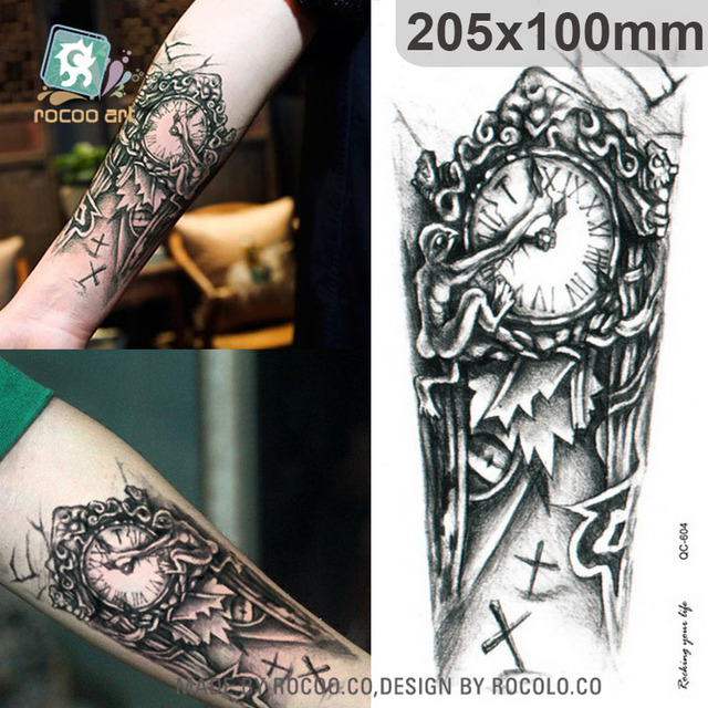 QC604 20X10cm Long Tatuajes Temporales Tattoo Sleeves Body Art Vintage Old Clock Temporary Fake Flash Tatoo Sticker Taty