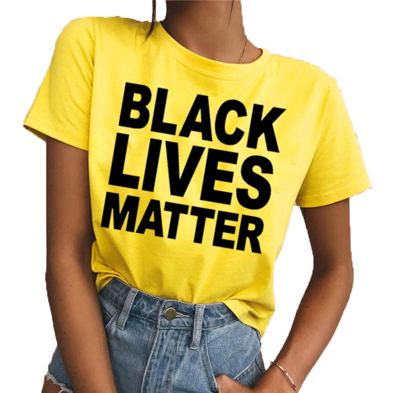 2018 Fashion BLACK LIVES MATTER Printed Round Neck Short Sleeve Yellow  Loose Woman T Shirts Tops 58765fc7d301