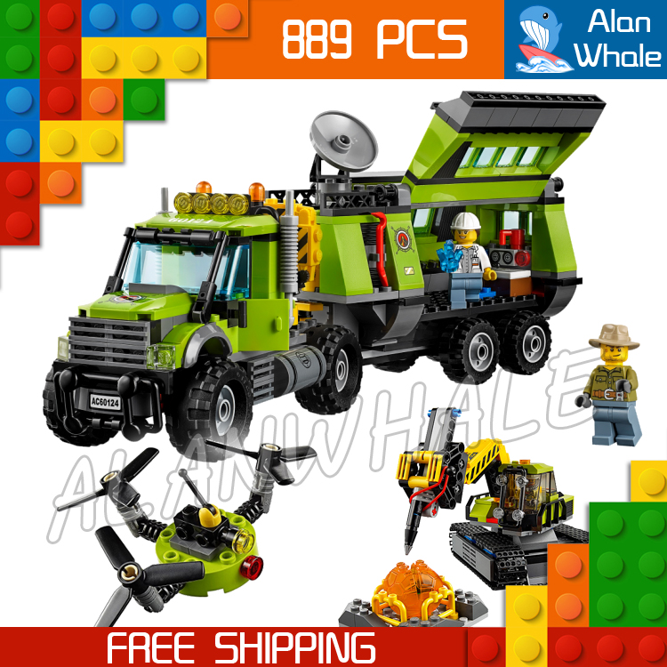 889pcs City Volcano Exploration Base Model Building Blocks 02005 Assemble Bricks Children Cars Toys Sets Compatible With Lego 1pcs electric indicator 90 1000v socket wall ac power outlet voltage detector sensor tester pen led light drop ship wholesale