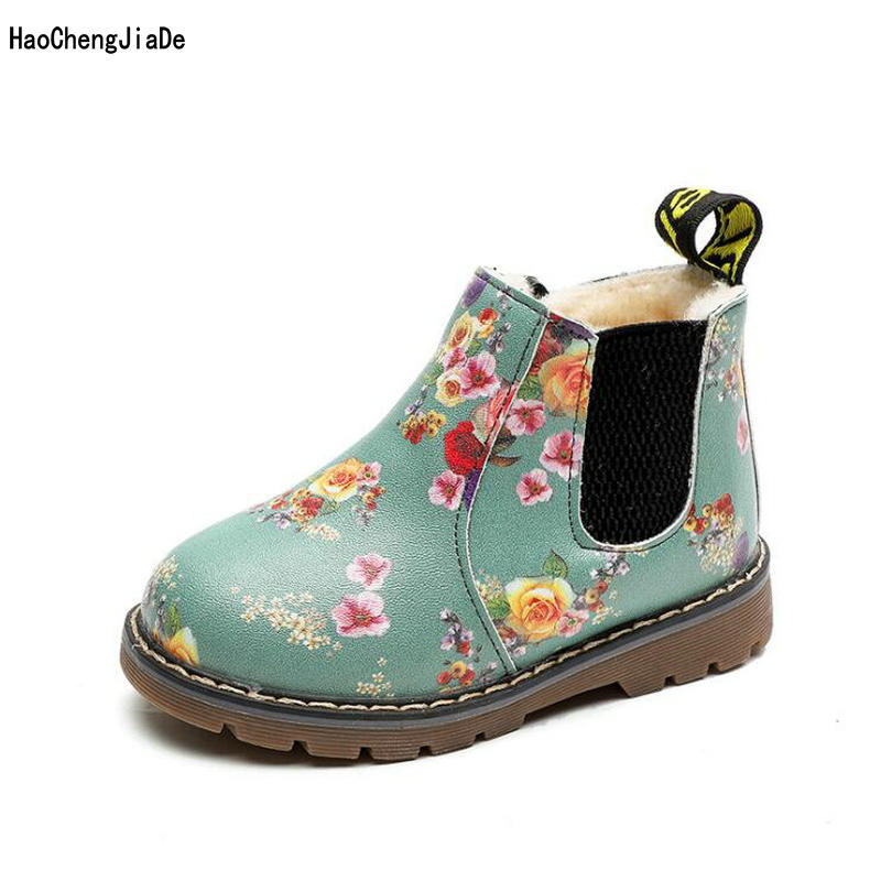 New Fashion Children Snow Boots Flower Warm Plush Winter Quality Cotton Boots Boys Girls Thick Fur Inside Soft Soles Kids shoes 2018 new girls fur one snow boots winter 2018 new children s net red children s shoes parent child warm cotton shoes lace