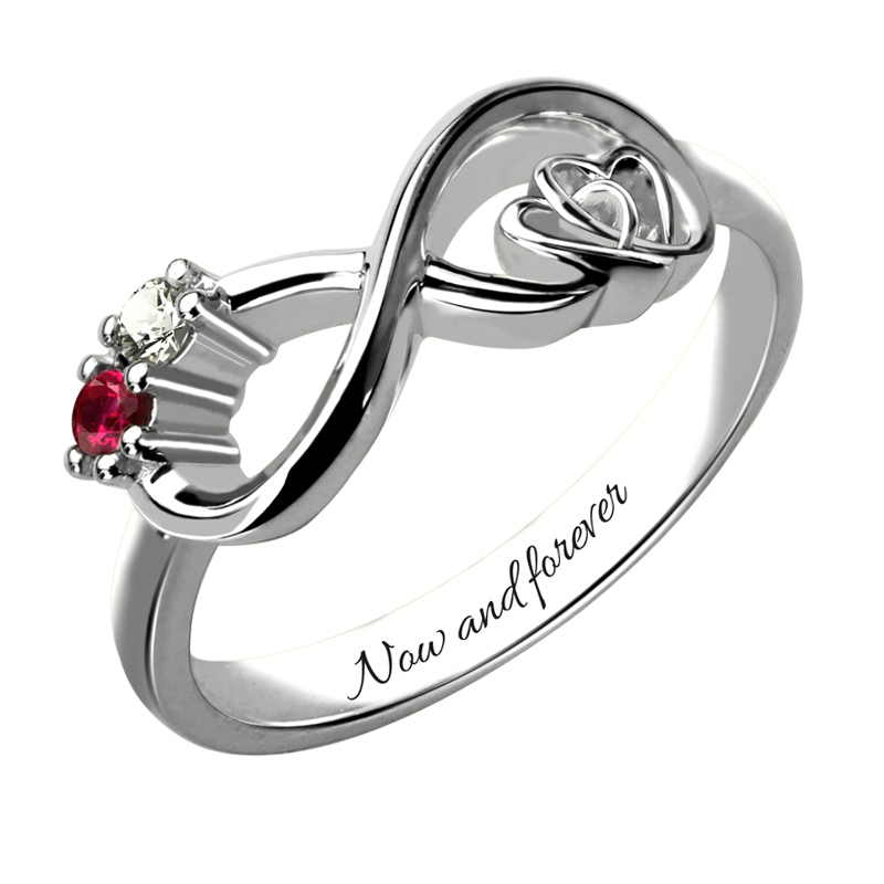 AILIN Customized Heart in Heart Sterling Silver Infinity Birthstone Ring Engraved Promise Ring Couples Birthstone Ring caged heart locket infinity ring sterling silver birthstone ring engraved infinity ring mother s gift for grandma