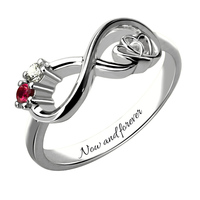 AILIN Customized Heart in Heart Sterling Silver Infinity Birthstone Ring Engraved Promise Ring Couples Birthstone Ring
