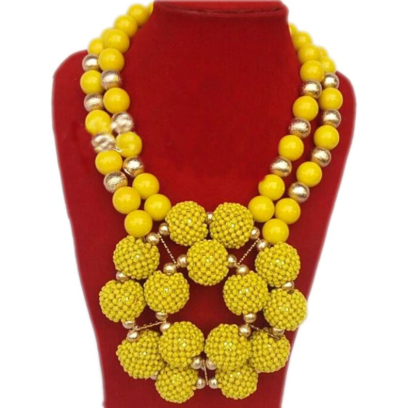 Yellow African Jewelry Sets For Women Balls Bridal Jewellery Set Necklace Earrings Bracelet Nigerian beads Fashion Jewellery New