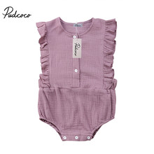 36165568ff01 2018 New Arrival Summer Newborn Kid Baby Girls Button Casual Backless Ruffles  Rompers Jumpsuit Infants Girls