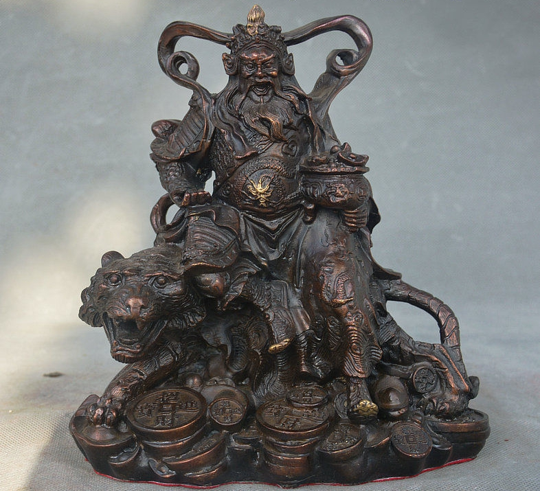8 Chinese Copper Bronze Ride Tiger Mammon Money Wealth God Zhao Gongming Statue8 Chinese Copper Bronze Ride Tiger Mammon Money Wealth God Zhao Gongming Statue