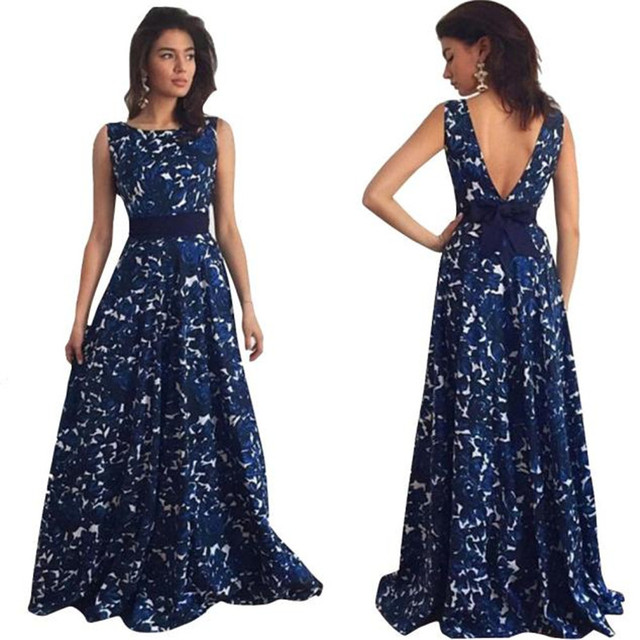 c5666c8bcf83 2018 S-XL New Fashion Women Spring Summer Sexy Floral Long Formal Dress  Party Casual Vintage Ball Gown Dress A20