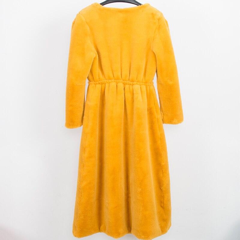 النيرازوري فو الفراء معطف المرأة طويلة الأصفر رقيق سترة العميق الخامس الرقبة فروي وهمية الفراء زائد حجم السيدات معطف شتاء 5xl 6xl 7xl-في فراء صناعي من ملابس نسائية على  مجموعة 2