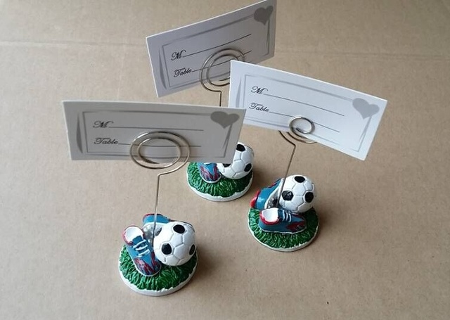10pcs Lot Sport Series Wedding Gift Football Design Place Card Holder Soccer Themed Party