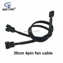 3 PCS Motherboard Fan Cable 4pin PWM 1 to 2 Weaving Nets Power Adapter Cables 30cm