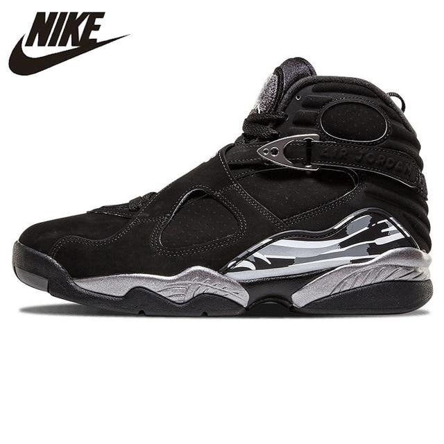 b0064517db6 NIKE Air Jordan 8 Joe 8AJ8 Black and Silver Triple Engraved Men's Basketball  Shoes Sneakers 305381 003