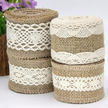 2 Meters/Lot Width 5CM Natural Jute Rolls Burlap Hessian Lace Ribbons with Cotton Ornament Party Wedding Decoration