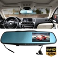 Car Camera 4.3Inch Rearview Mirror Auto DVR Dual Lens Dash Cam Recorder Video Registrator Camcorder Full HD1080P Night Vision