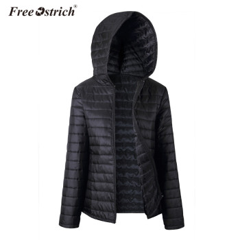 Free Ostrich Jacket Women Autumn Winter Hooded Warm Zipper 2018 Black Coats Long Sleeve Solid Parkas Coat L0530