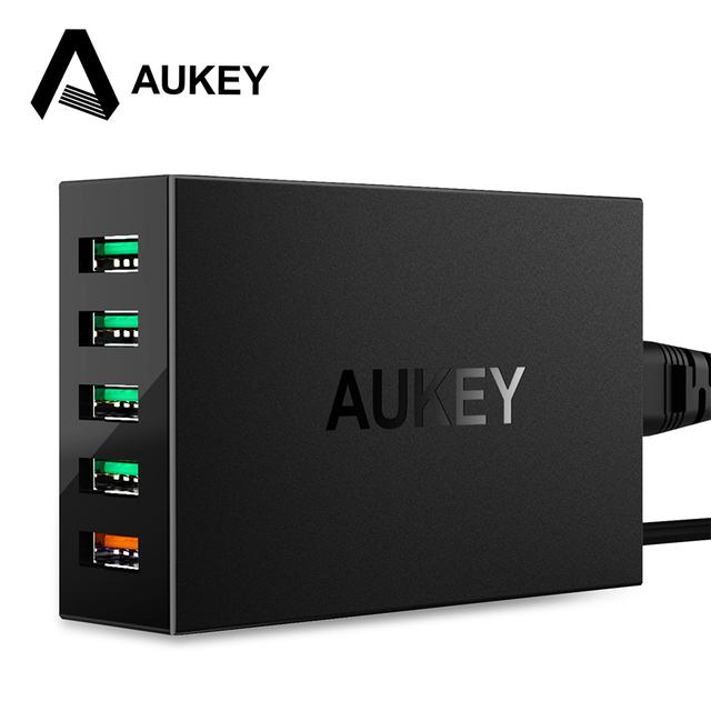 Qc 3.0 aukey puertos usb cargador estación de carga rápida con micro-usb cable para samsung galaxy xiaomi mi5 iphone ipad meizu & más