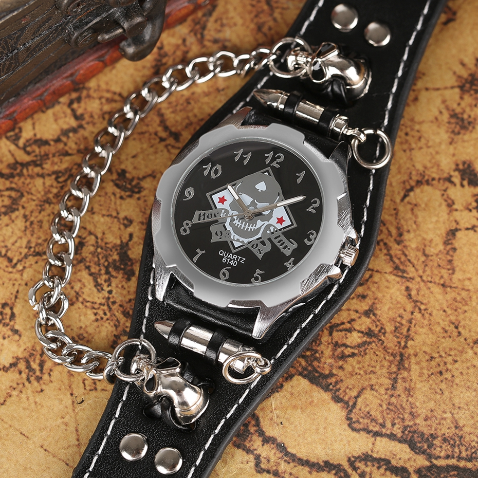 Fashion Gothic Style Creative Watch Men Women Rock Punk Cuff Bullet Chain Quartz Clock with Cool Skull Bracelet Gift Relogio TOP 2017 (13)